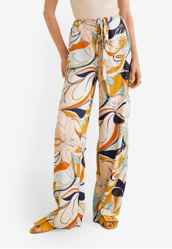 Mango blue Flower Print Trousers 65E75AA6061BE4GS_1