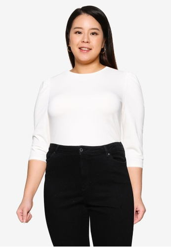 Only CARMAKOMA white Plus Size Time 3/4 Puff Sleeve Top 14652AA62844BBGS_1