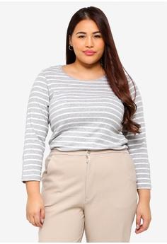 069b3b8879 Dorothy Perkins grey Plus Size Grey Stripe Popper Cuff Tee  CEF57AAA4F7E29GS 1