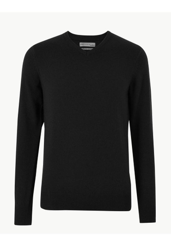 MARKS & SPENCER black M&S Pure Extra Fine Lambswool V-Neck Jumper 04919AA9F9F1BAGS_1
