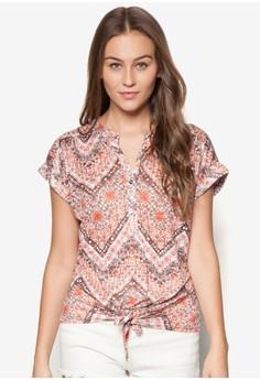 Chevron Print Tie Front Shirt