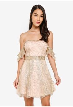 7c70c943 INDIKAH gold Off Shoulder Flutter Sleeve Sequinned Mini Skater Dress  BCD49AA0FC5CE0GS_1
