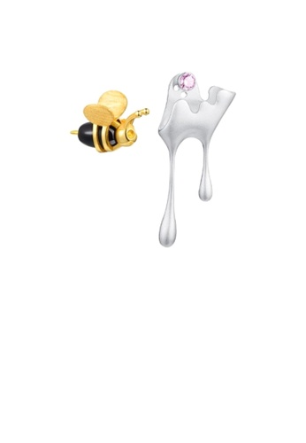 Glamorousky pink 925 Sterling Silver Cute Creative Bee Water Drop Asymmetrical Stud Earrings with Pink Cubic Zirconia 815E7ACF7134A9GS_1