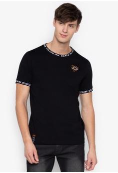 9b0766e16b9c0 Kappa black SPORTS kintted neck ribbing t-shirt 2C9A5AAF1603C1GS 1