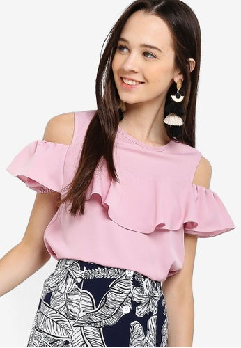 Something Borrowed pink Ruffles Front Cold Shoulder Top 62DB6AA804EF5AGS_1