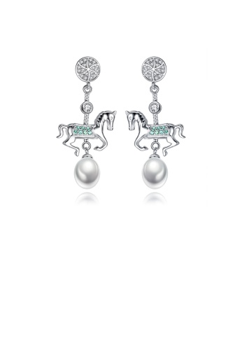 Glamorousky green 925 Sterling Silver Fashion Creative Carousel White Freshwater Pearl Earrings with Cubic Zirconia 82545AC9771264GS_1