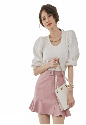 Crystal Korea Fashion white New style wool knitted white top made in Korea 7DE25AAB6AC382GS_1