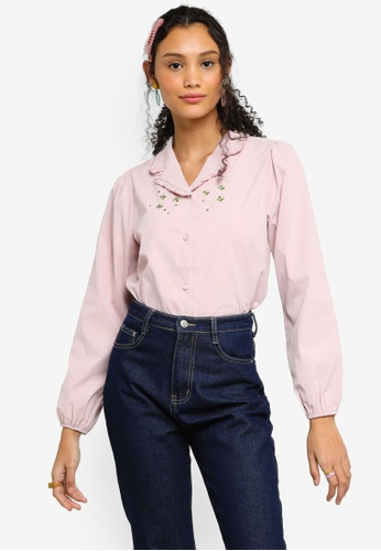 Lubna pink V-neck Collar Embroidered Blouse 17930AA2603765GS_1