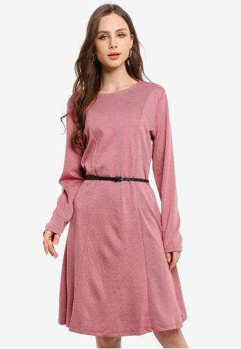 LC Waikiki pink Belted A-Line Dress 401CFAA8974D71GS_1