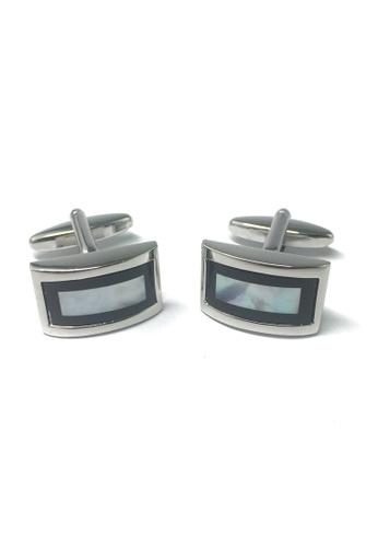 Splice Cufflinks High Quality Curved White MOP & Black Design Rhodium Plated Cufflinks SP744AC24ABRSG_1