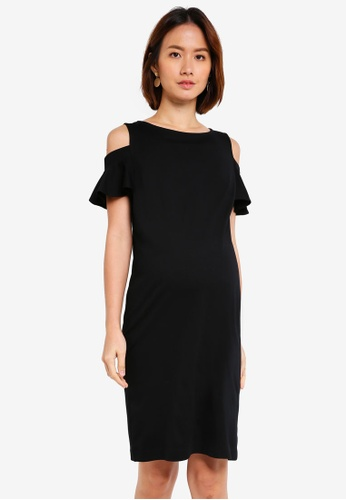 Pietro Brunelli Milano black Maddalena Cold Shoulder Maternity Dress 25D61AA9917B1EGS_1