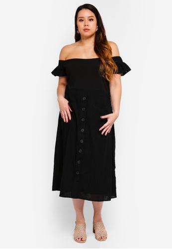 LOST INK PLUS black Plus Size Bardot Dress With Pockets D3DDBAABEB44BBGS_1