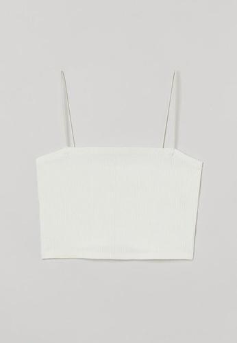 H&M white Ribbed Crop Top 5D8F4AAB3DDA43GS_1