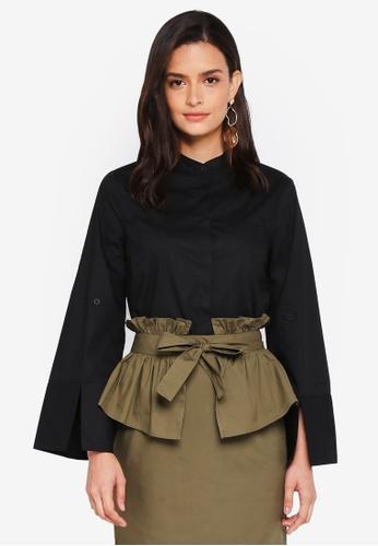 Lubna black Eplaulet Sleeve Oversized Shirt 8FD32AADE57CEBGS_1