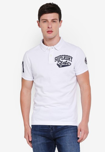 Superdry white Classic Superstate Short Sleeve Polo Shirt 4245CAAF695239GS_1