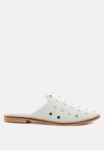 RAG & CO 白色 真皮铆钉拖鞋 665CCSHEA479B8GS_1