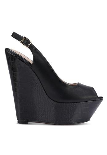 Nose black Peep Toe Wedge Sandals NO327SH0RC6VMY_1