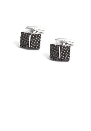 Glamorousky silver Simple Fashion Black Pattern Geometric Cufflinks 0F290AC1E4AD89GS_1