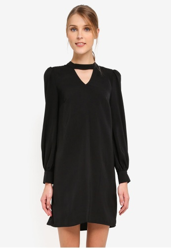 WAREHOUSE black Choker Long Sleeve Shift Dress WA653AA0SNY5MY_1