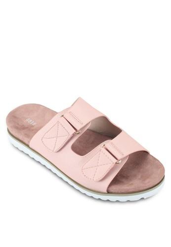 撞色扣環寬帶涼鞋esprit台灣, 女鞋, 涼鞋