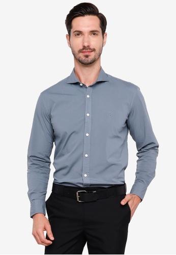 Sacoor Brothers blue Slim fit cotton elastane comfort poplin shirt in garment dye E2DF3AA615EFEBGS_1