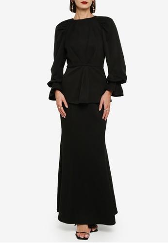 Zalia black Raglan Puff Sleeve Kurung E8B2BAAFDCFE38GS_1