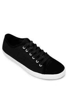 Faux Suede Toe Cap Canvas Sneakers