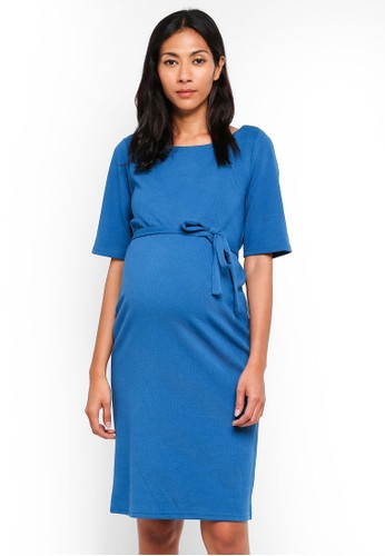 Mama.licious blue Maternity 2/4 Jersey Dress 533E6AA1497E37GS_1