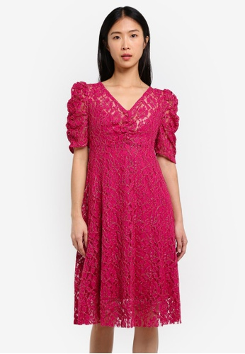 Mango red lace dress online