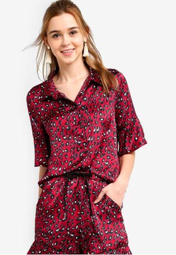 Something Borrowed 紅色 印花綢緞襯衫 69659AA47FD8D1GS_1