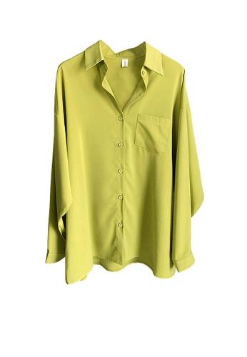 Twenty Eight Shoes green VANSA Chiffon Long Sleeve Shirts  VCW-Sh316 EE471AA324E858GS_1