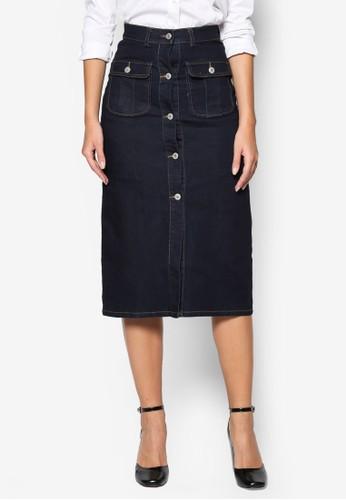 單排扣彈性esprit macau及膝丹寧短裙, 服飾, 裙子