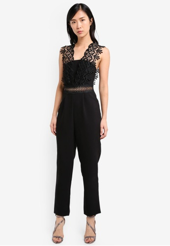 TOPSHOP black Lace Strap Jumpsuit TO412AA0SRRRMY_1