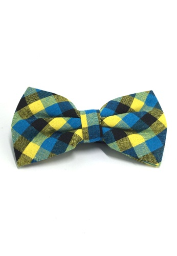 Splice Cufflinks Probe Series Blue, Yellow and Black Checked Design Cotton Pre-tied Bow Tie SP744AC07QPKSG_1
