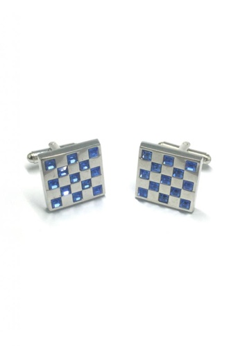 Splice Cufflinks blue and silver Blue Crystals Square Cufflinks 2   SP744AC08DNRSG_1