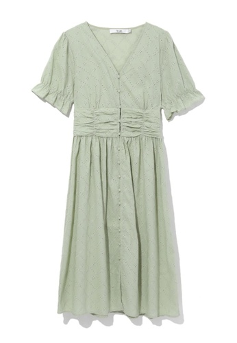 b+ab green Ruched waist dress 1F943AA4211F31GS_1