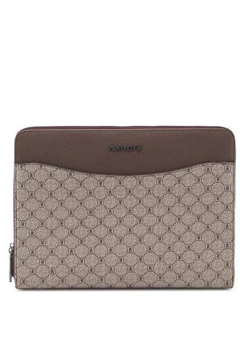 Playboy brown Faux Leather Clutch Bag 5BD71AC5A1DDDFGS_1