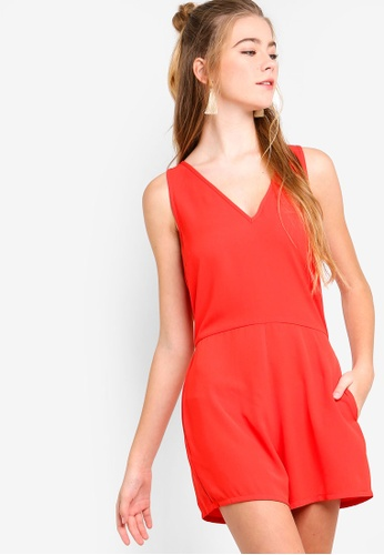 Something Borrowed orange V-Neck Sleeveless Playsuit 8B0DEAAA4515FAGS_1