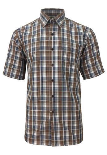 Pacolino brown Pacolino - Korea Polynosic Wrinkle Free Checker Formal Casual Short Sleeve Men Shirt FD4D9AA0DF1433GS_1