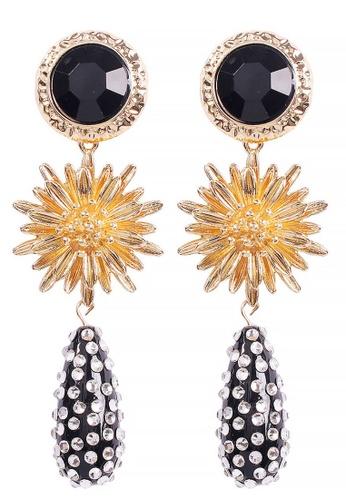 Sunnydaysweety black Drop-Shaped Flower Pendant Earrings A21032408BK 672FCAC5166394GS_1
