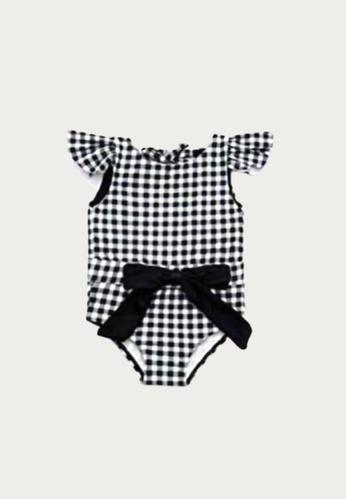 Mommy Hugs black Gingham Print One Piece Swimwear With Bow E0564KA8800EB5GS_1