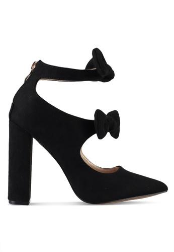 Velvet black Double Bow Detail Chunky Heel B9074SH3FB8416GS_1