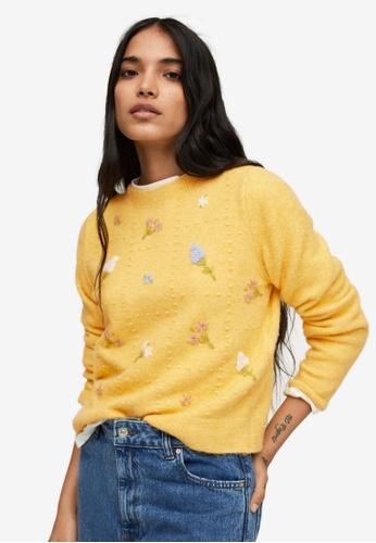 Mango yellow Flowers Knit Sweater 9AE1CAA2A3ACDEGS_1