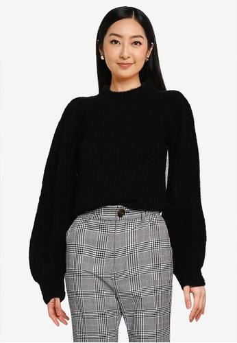 Heather black Ribbed Knit Sweater 59216AA807D248GS_1