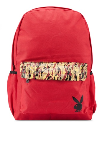 Playboy red Printed Backpack 99599AC5BC6877GS_1