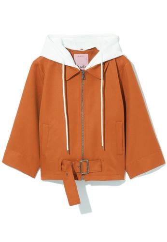 b+ab brown Buckled zip through jacket 8BA1DAA86CA16CGS_1