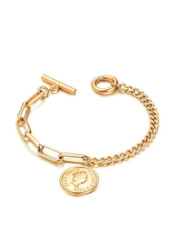 CELOVIS gold CELOVIS - Queen Elizabeth Coin Pendant Toggle Clasp Bracelet (Gold) 04D47ACCFC30B9GS_1