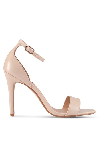 ZALORA beige Square-Toe Patent Heels with Ankle Strap CACB1SHDC04665GS_1