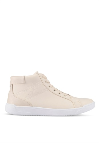 ZALORA beige Faux Leather High Top Sneakers B4531SH1135B34GS_1