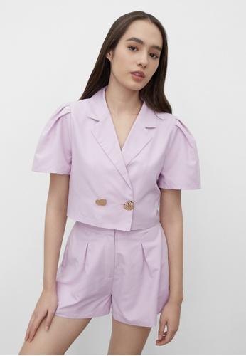 Pomelo purple Sustainable Crop Buttoned Blazer - Purple 97355AA39FEB1EGS_1